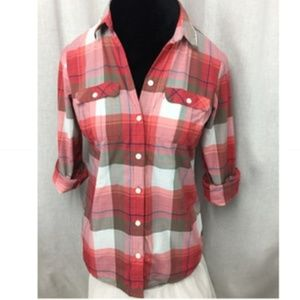 Eddie Bauer Pink Grey Plaid Camp Shirt Ladies Sm